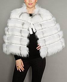 The Fur Vault Rabbit-Trim Fox Fur Cape