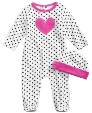 First Impressions 2Pc Hat  Heart Footed Coverall Set Baby Girls (024 months) Created for Macys