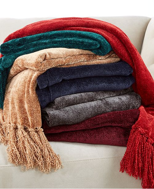 Martha Stewart Collection CLOSEOUT Chenille Throw Created For Simple Black Chenille Throw Blanket