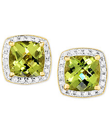 Peridot (3 ct. t.w.) & Diamond (1/6 ct. t.w.) Halo Stud Earrings in 14k Gold
