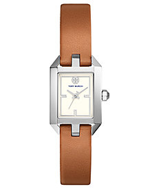 Tory Burch Women's Dalloway Luggage Leather Strap Watch 23x37mm