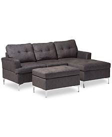 Riley 3-Pc. Sectional Sofa with Ottoman Set, Quick Ship