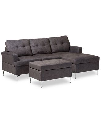 Sunday Theory Riley 3 Pc Sectional Sofa With Ottoman Set Quick