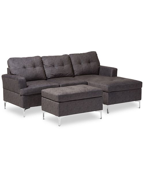 Remarkable Riley 83 3 Pc Sectional Sofa With Ottoman Set Quick Ship Creativecarmelina Interior Chair Design Creativecarmelinacom