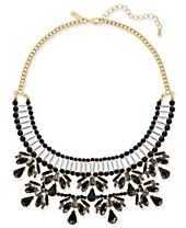 INC International Concepts Two-Tone Jet Stone & Bead Statement Necklace, Created for Macy's