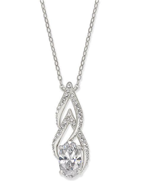 Danori Silver-Tone Cubic Zirconia Pendant Necklace, Created for Macy's