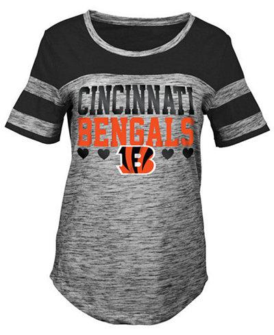 5th & Ocean Cincinnati Bengals Space Dye Foil Heart T-Shirt, Girls (4-16)