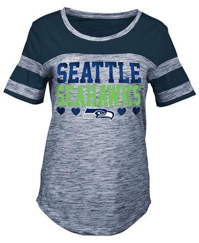 5th & Ocean Seattle Seahawks Space Dye Foil Heart T-Shirt, Girls (4-16)