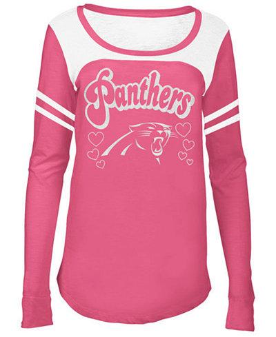 5th & Ocean Carolina Panthers Pink Slub Long Sleeve T-Shirt, Girls (4-16)