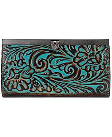 Cauchy Turquoise Tooled Leather Wallet