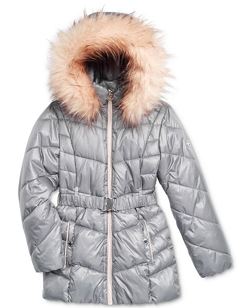 a86e84c5e0db Michael Kors Belted Puffer Stadium Parka with Faux-Fur Trim