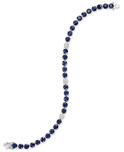 Sapphire (20 ct. t.w.) & Diamond (1/8 ct. t.w.) Tennis Bracelet in Sterling Silver