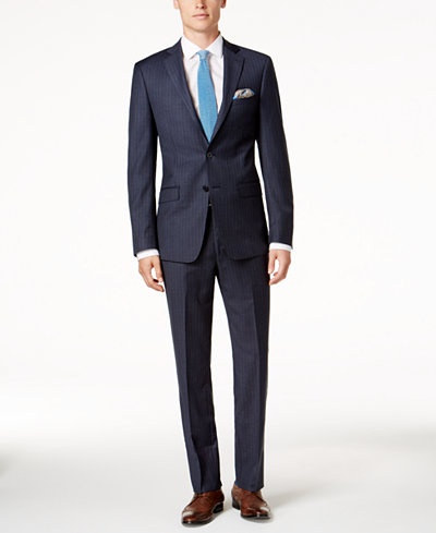 Calvin Klein Men's Slim-Fit Stretch Denim Blue Pinstripe Suit
