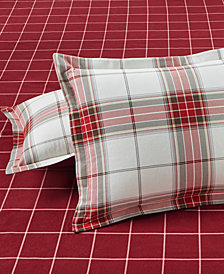 CLOSEOUT! Martha Stewart Collection Deer Pond  100% Cotton Plaid Flannel Sham, Created for Macy's