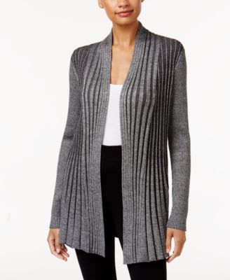 Image of NY Collection Ribbed Open-Front Cardigan