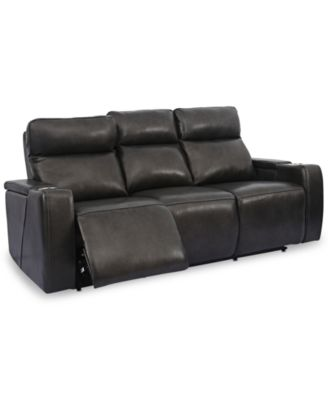 Oaklyn Leather Sofa With Power Recliners, Power Headrests, USB Power Outlet  And Drop Down