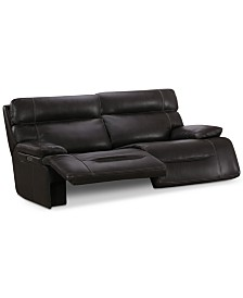 """Barington 85"""" Leather Sofa with 2 Power Recliners, Power Headrests and USB Power Outlet"""