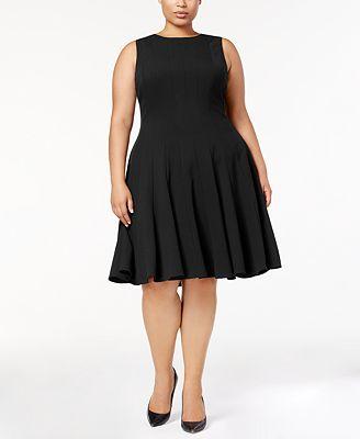 calvin klein plus size pleated a-line dress - dresses - women - macy's
