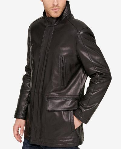 Cole Haan Men's Leather Knit-Collar Car Coat