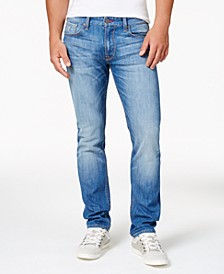 Men's Light Blue Slim Straight Fit Stretch Jeans