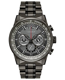 Eco-Drive Men's Chronograph Nighthawk Gray Stainless Steel Bracelet Watch 43mm