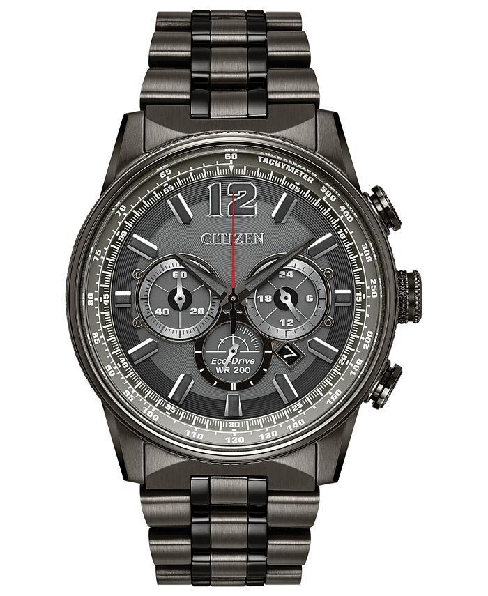 Citizen - Men's Eco-Drive Chronograph Nighthawk Gray Stainless Steel Bracelet Watch 43mm