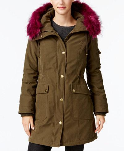 One Madison Expedition Customizable Faux-Fur-Trim Anorak Coat