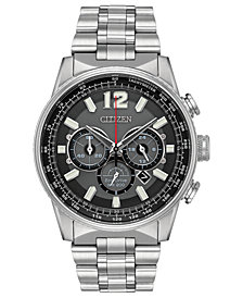 Citizen Eco-Drive Men's Chronograph Nighthawk Stainless Steel Bracelet Watch 43mm
