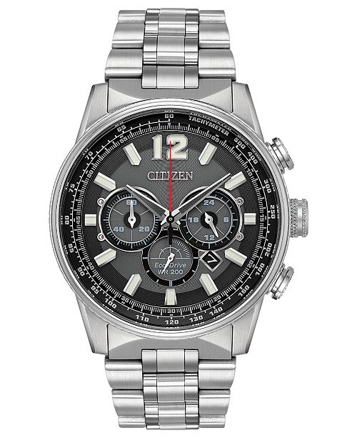 Citizen Eco-Drive Men's Chronograph Nighthawk Stainless Steel Bracelet Watch 43mm