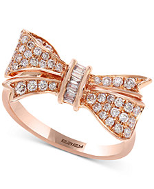 Pavé Rose by EFFY® Diamond Bow Ring (3/8 ct. t.w.) in 14k Rose Gold