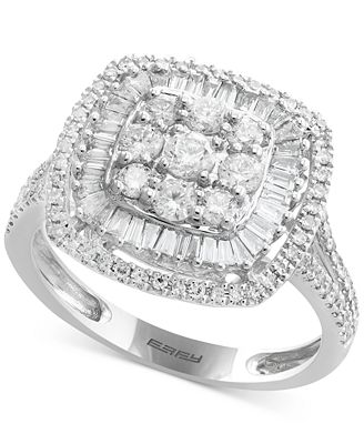 Classique by EFFY® Diamond Square Cluster Ring (1 ct. t.w.) in 14k White Gold