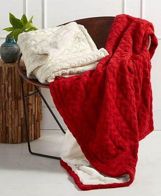 CLOSEOUT! Martha Stewart Collection Solid Cable Knit Throw with Faux Fur Reverse, Created for Macy's