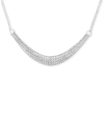 Diamond Five-Row Collar Necklace (1/2 ct. t.w.) in Sterling Silver
