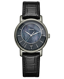 Rado Women's Swiss Diamaster Black Leather Strap Watch 33mm