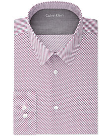 Calvin Klein X Men's Extra-Slim Fit Thermal Stretch Performance Burgundy Print Dress Shirt