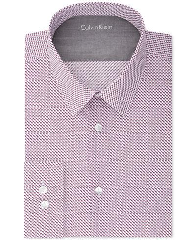 Calvin Klein X Men's Extra-Slim Fit Thermal Stretch Performance Burgundy Print Dress Shirt