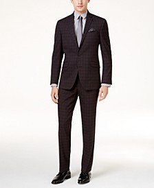 Men's Slim-Fit Black Plaid Sheen Ready Flex Suit