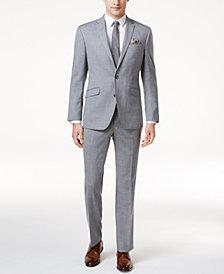 Kenneth Cole Reaction Men's Slim-Fit Light-Gray Sharkskin Techni-Cole Suit