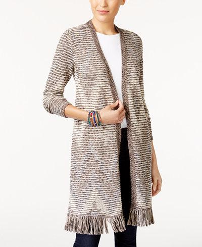 Style & Co Jacquard Fringe Duster Cardigan, Created for Macy's ...