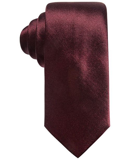 Men's Solid Silk Slim Tie, Created for Macy's