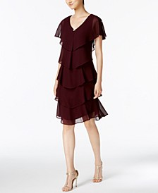 Tiered Rhinestone Capelet Dress