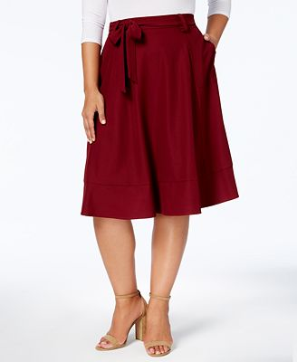 NY Collection Plus Size Tie-Front Midi Skirt