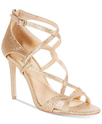 Jewel Badgley Mischka Aliza Glittered Strappy Evening Sandals