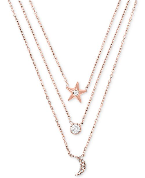 953c09a377113 ... Michael Kors Rose Gold-Tone Stainless Steel Pav eacute  Triple-Row  Celestial Pendant Necklace ...