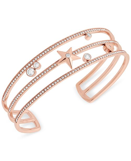 ... Michael Kors Rose Gold-Tone Stainless Steel Crystal   Star Triple-Row  Cuff Bracelet ... 5dbd0e9763a