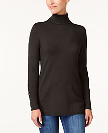 JM Collection Petite Turtleneck Rivet-Cuff Sweater, Created for Macy's