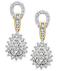 Diamond Teardrop Earrings in 14k Gold (1 ct. t.w.)