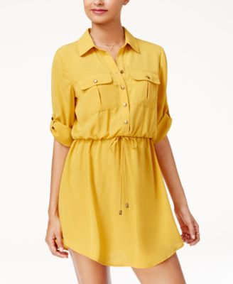 Image of Be Bop Juniors' Roll-Tab Shirt Dress with Utility Pockets