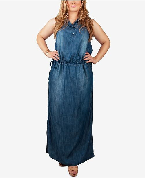 b57fc2d5 ... standards and practices Trendy Plus Size Chambray Maxi Shirtdress ...