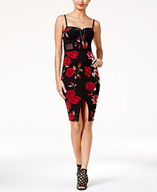 Material Girl Juniors' Printed Illusion Bodycon Dress, Created for Macy's